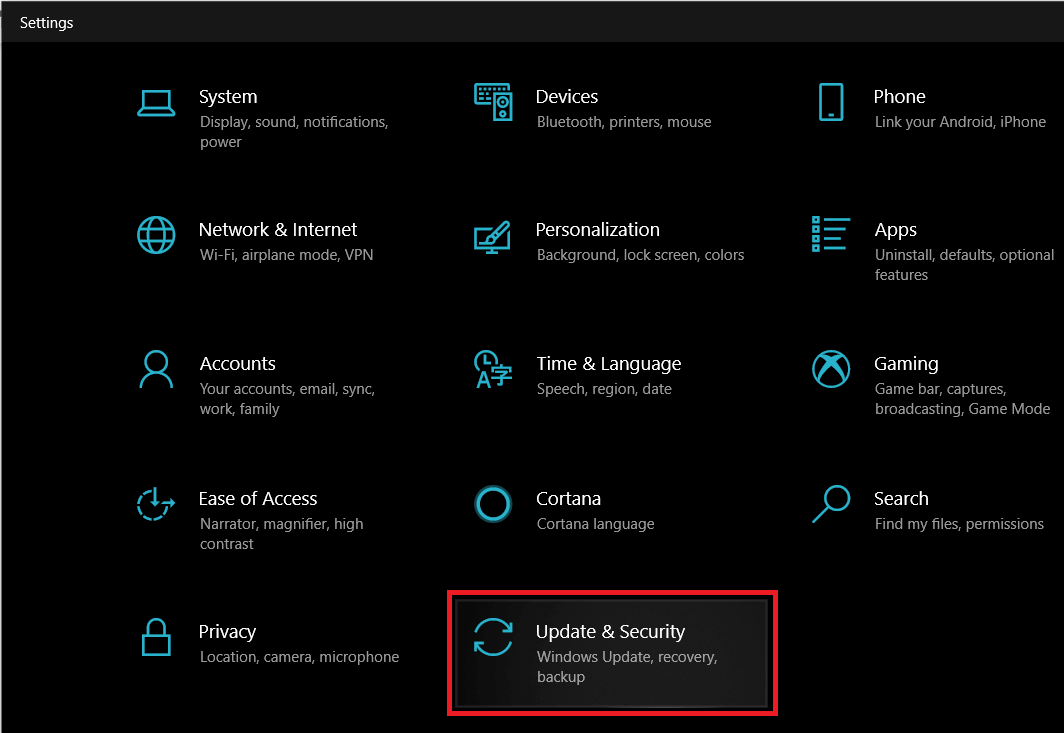 Open Windows Settings and click on Update and Security