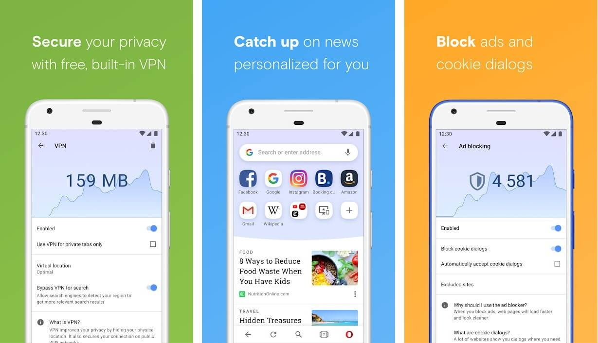 Opera browser with free VPN | Best Adblock Browsers for Android