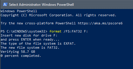 Press Enter to format the hard drive to FAT32   Format an External Hard Drive to FAT32