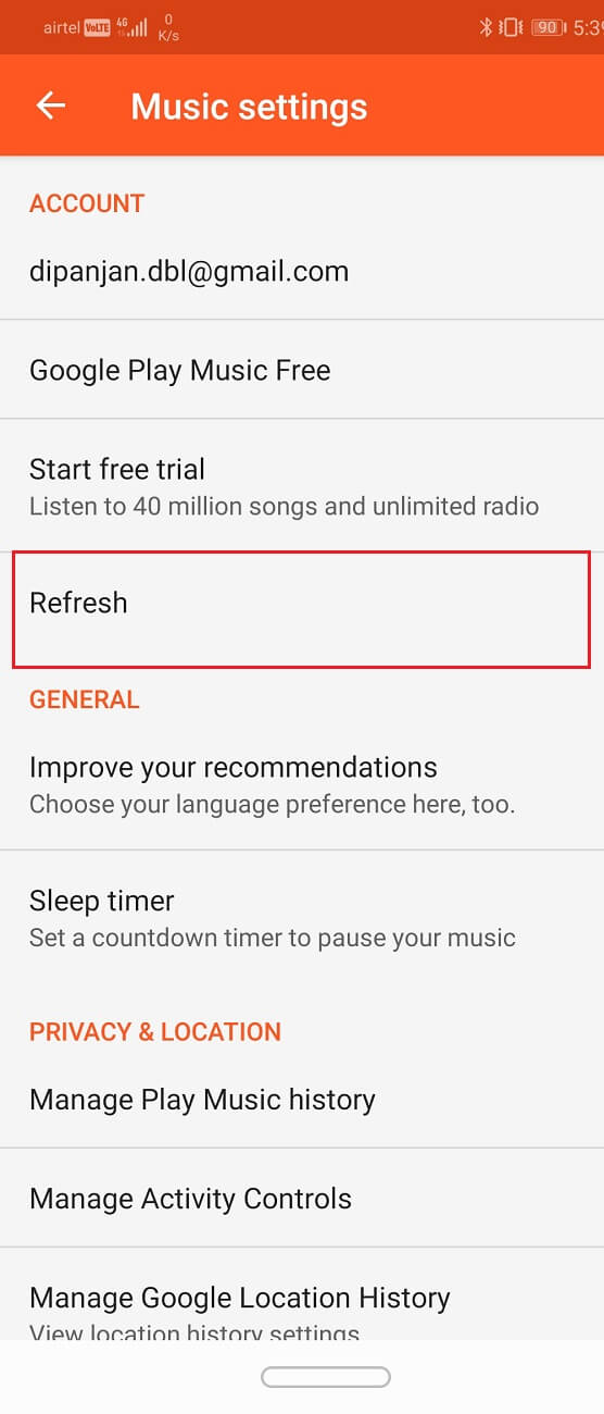 Refresh your music library by tapping on the Refresh button | Fix Problems with Google Play Music