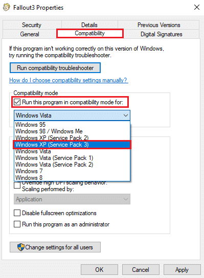 Select Windows XP (Service Pack 3)