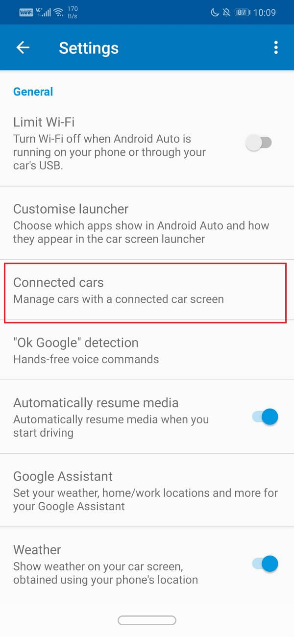 Select the Connected cars option