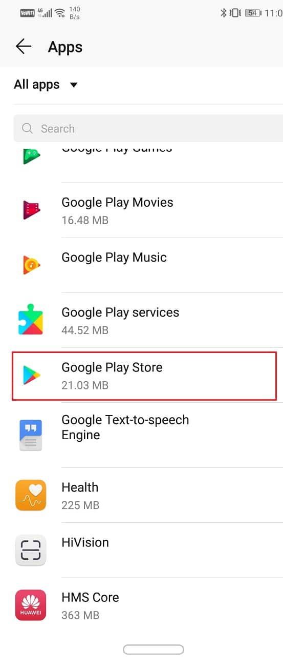 Select the Google Play Store from the list of apps