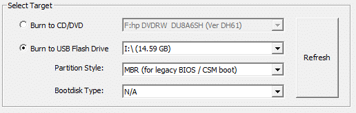Select the radio button next to Burn to USB Flash Drive