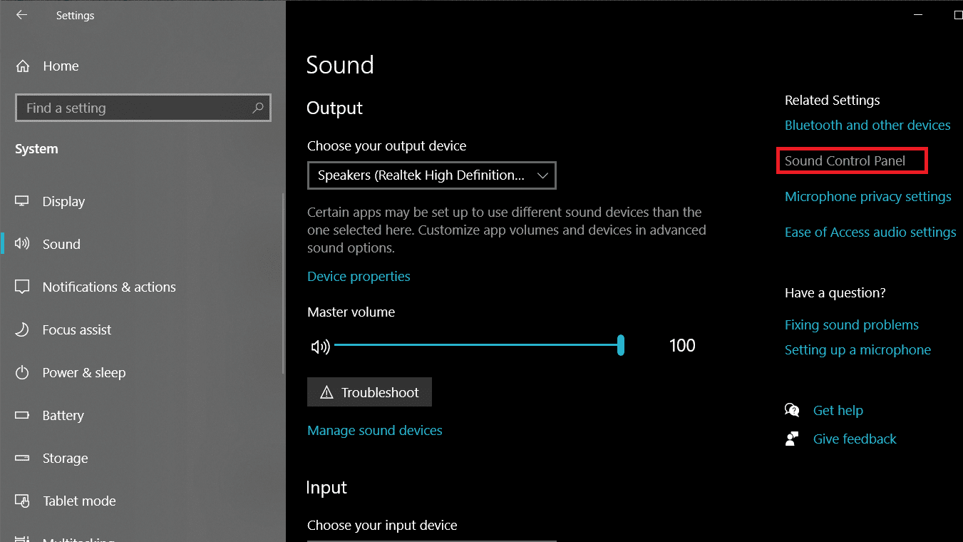 Selecting Open sound settings, and then clicking on the Sound Control Panel in the next window