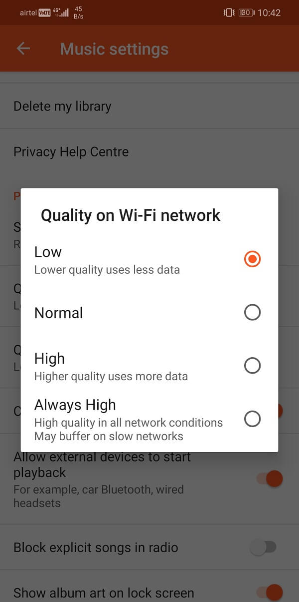 Set the playback quality on Wi-Fi to low