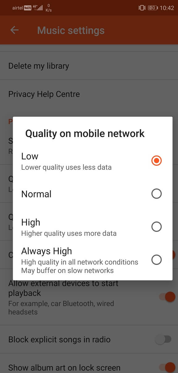 Set the playback quality on mobile network to low | Fix Problems with Google Play Music