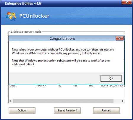 Successful password reset using PCUnlocker