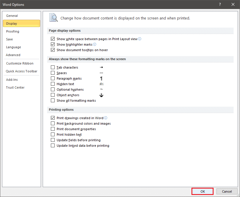 Tap on 'OK' at the bottom of the window to save the changes   Remove Paragraph Symbol (¶) in Word