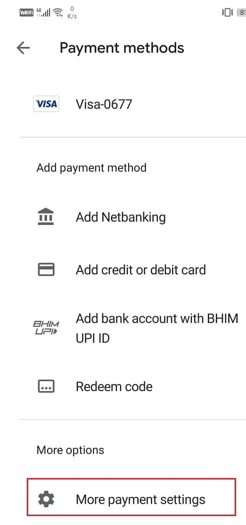 Tap on More payment settings
