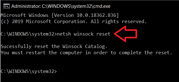 To Reset Network Adapter type the command in the command prompt