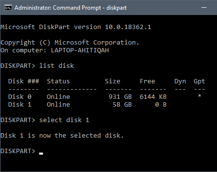 """Type """"select disk X"""" at the end replacing """"X"""" with the drive number and press the enter"""