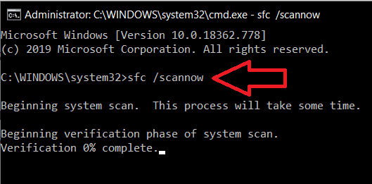 Type the command line sfc /scannow and press enter