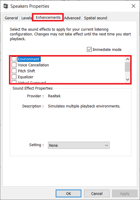 Uncheck the boxes next to individual sound effects until all of them have been disabled