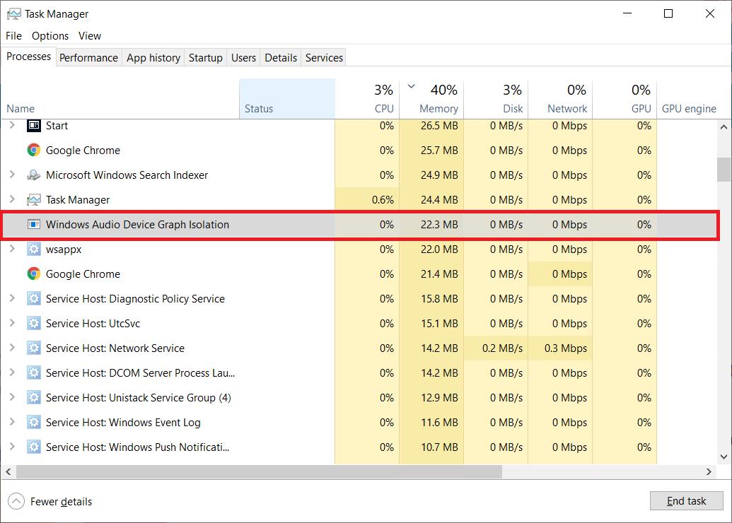 Windows Audio Device Graph Isolation process causes high CPU usage