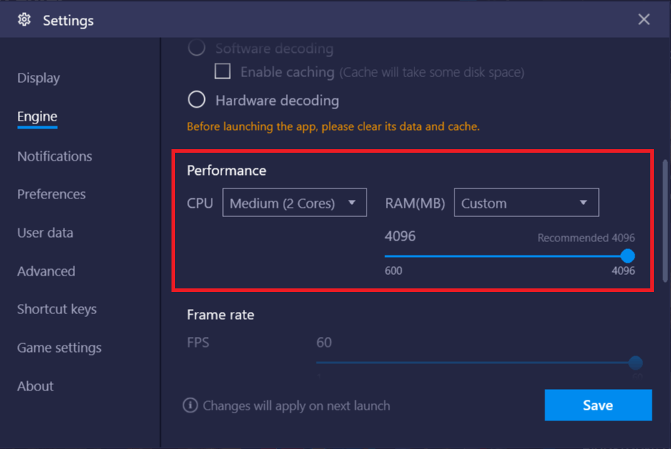 Adjust the RAM (MB) slider to the 'Recommended Memory' value then click on Save