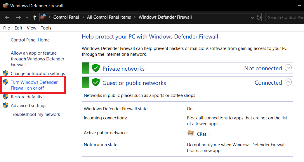 Click on Turn Windows Defender Firewall on or offpresent on the left side of the Firewall window
