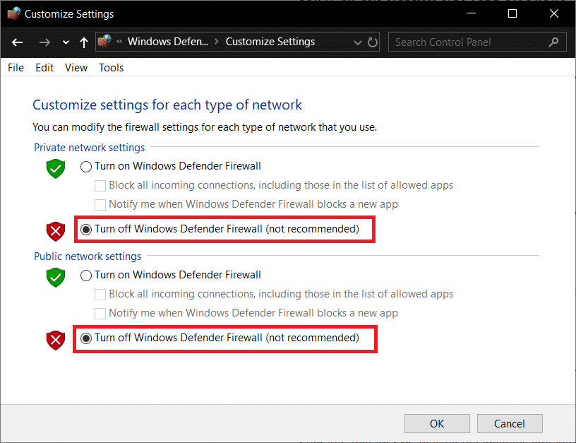 Click on Turn off Windows Defender Firewall (not recommended)