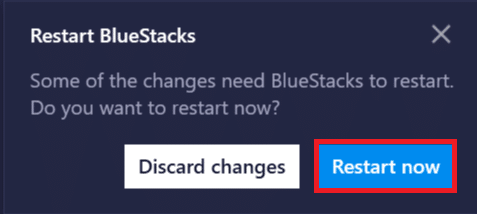 Click on the 'Restart Now' button