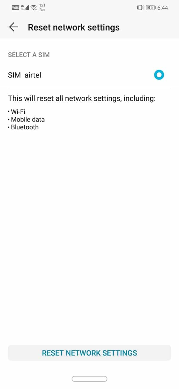 """Click on the """"Reset Network Settings"""" option 