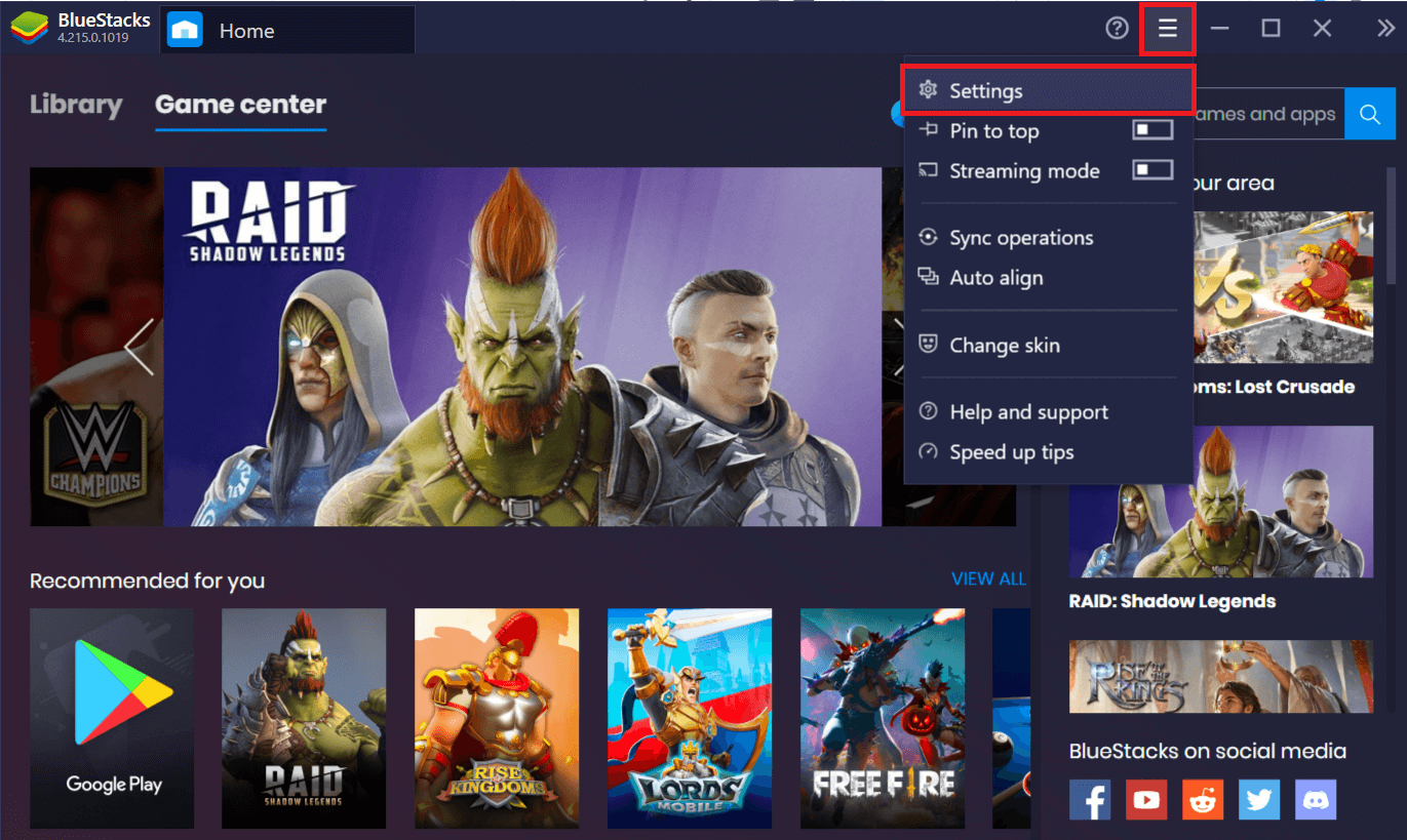 Click on the Bluestacks Menu button (three horizontal dashes) and click on Settings