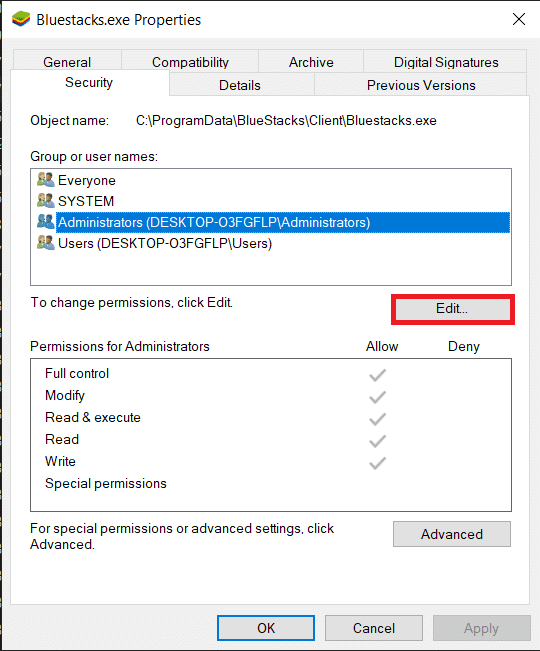 Click on the Editbutton in-line with To change permissions, click Edit
