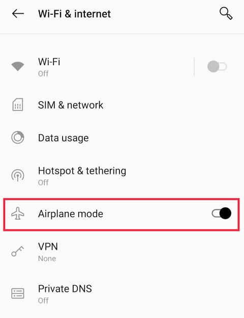 Click on the toggle switch located next to 'Airplane mode' to turn it off | Boost Internet Speed on Your Android Phone