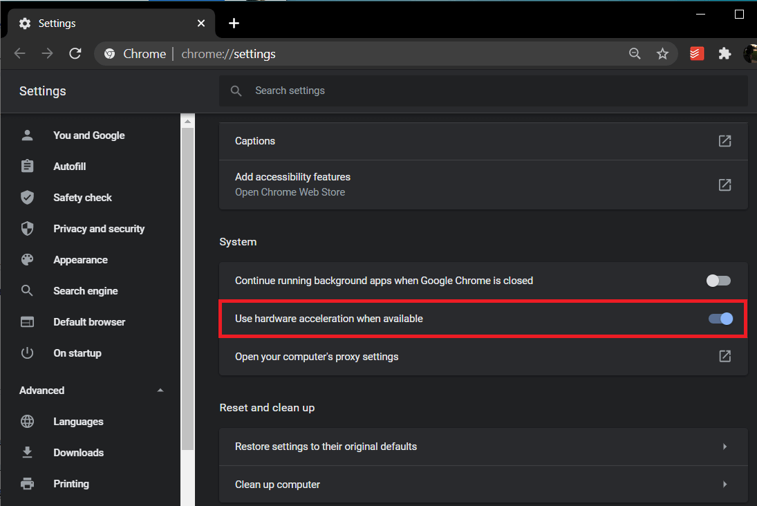Click on the toggle switch next to Use Hardware Acceleration when available to turn it off