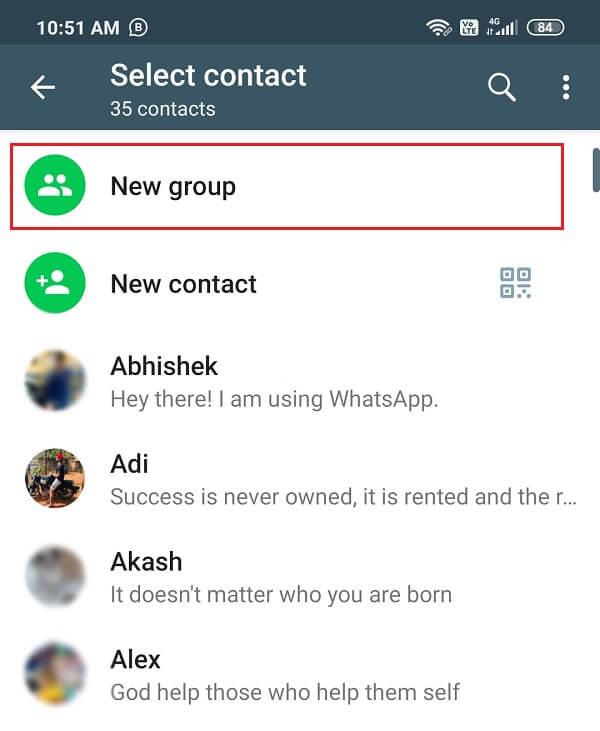 Create a new group on Whatsapp