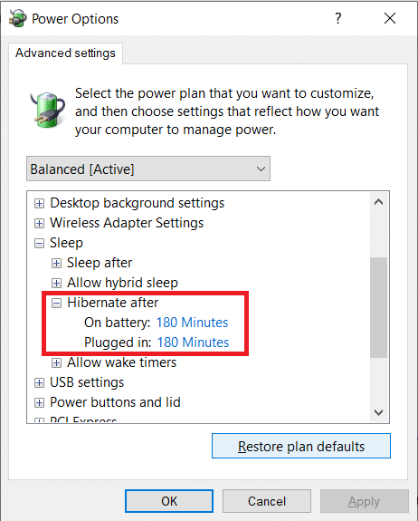Double-click on Hibernate afterand set the Settings (Minutes)