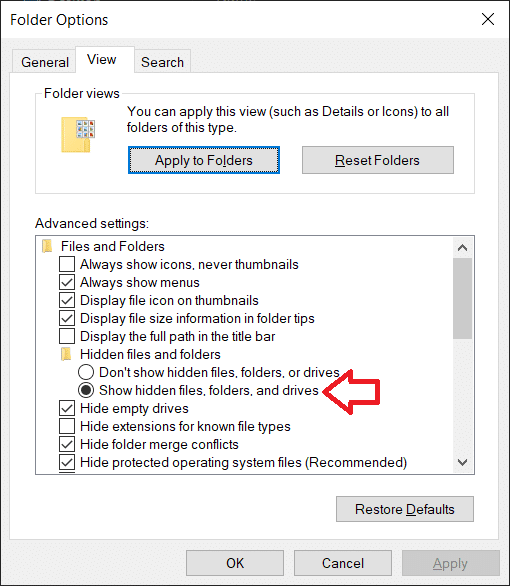 Double click onHidden files and foldersto open a sub-menu andenable Show hidden files, folders, or drives