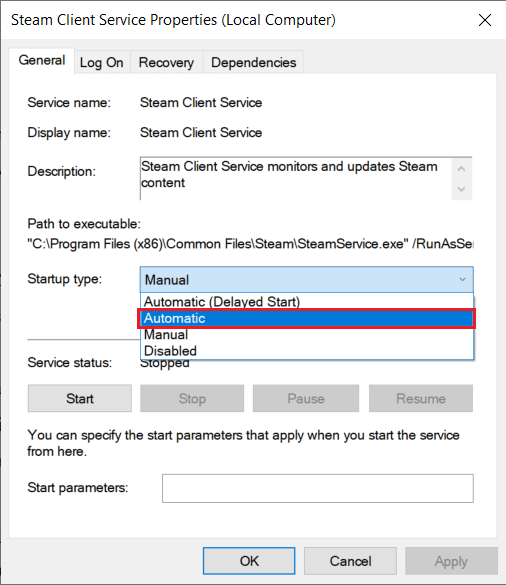 Expand the drop-down menu next to the Startup typelabel by clicking on it and selectAutomatic