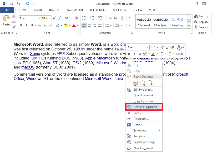 | Remove Hyperlinks from Word Documents