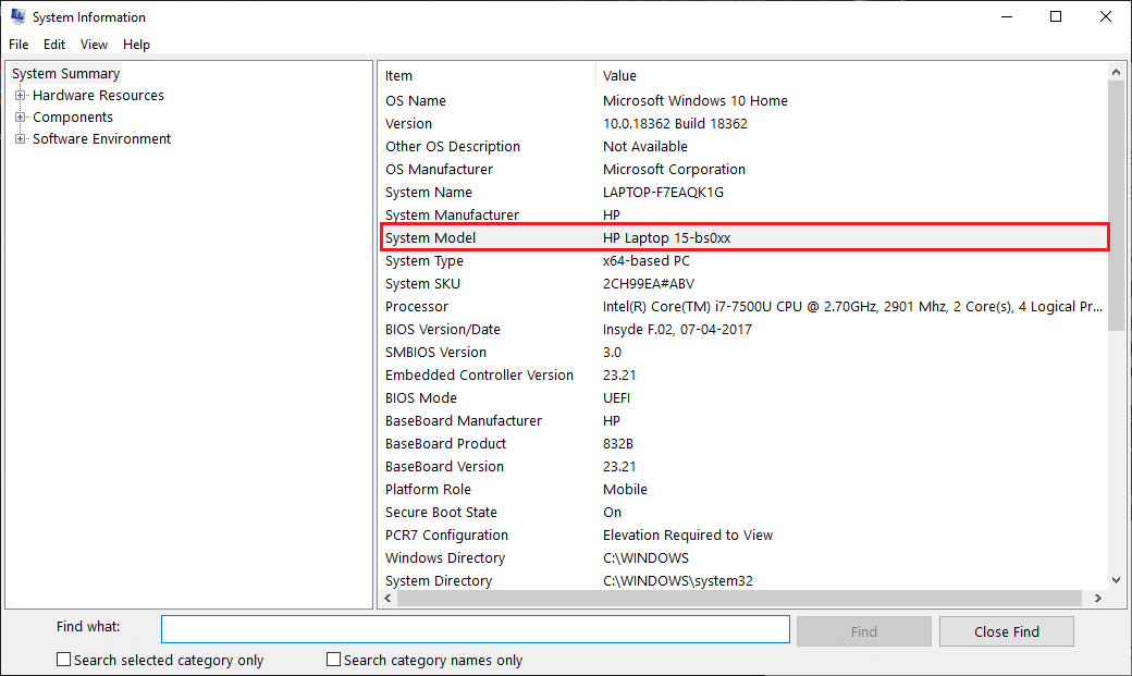 In the resultingSystem Informationwindow, find the'System Model'