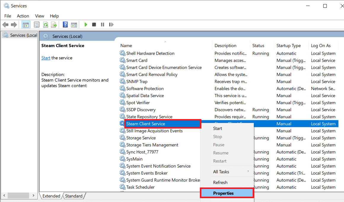Locate the Steam Client Serviceentry andright-clickon it and SelectProperties