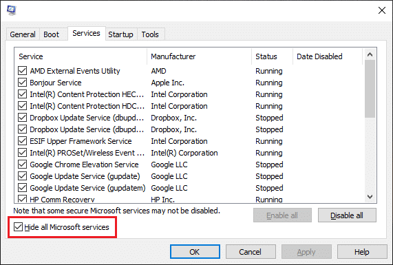 Now, check the box next to 'Hide all Microsoft Services' / Perform Clean boot in Windows 10