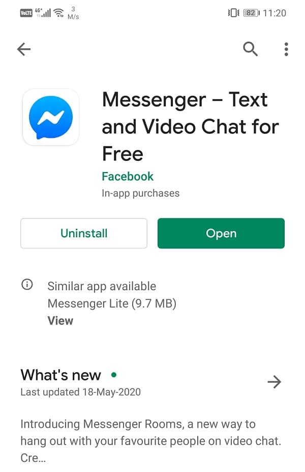 Once the app gets updated try using it again | Fix Facebook Messenger Chat Problems