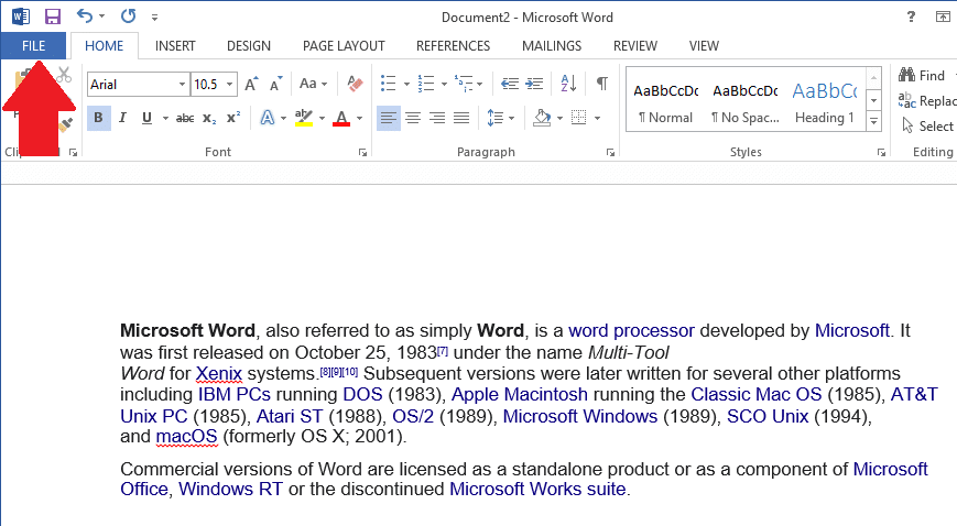 Open Microsoft Word and click on the File tab at the top-left of the window