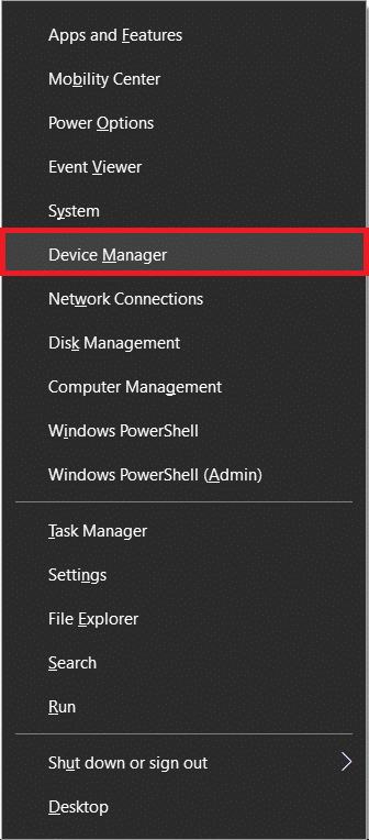 Press 'Windows key + X' to open the Power user menu and choose Device Manager
