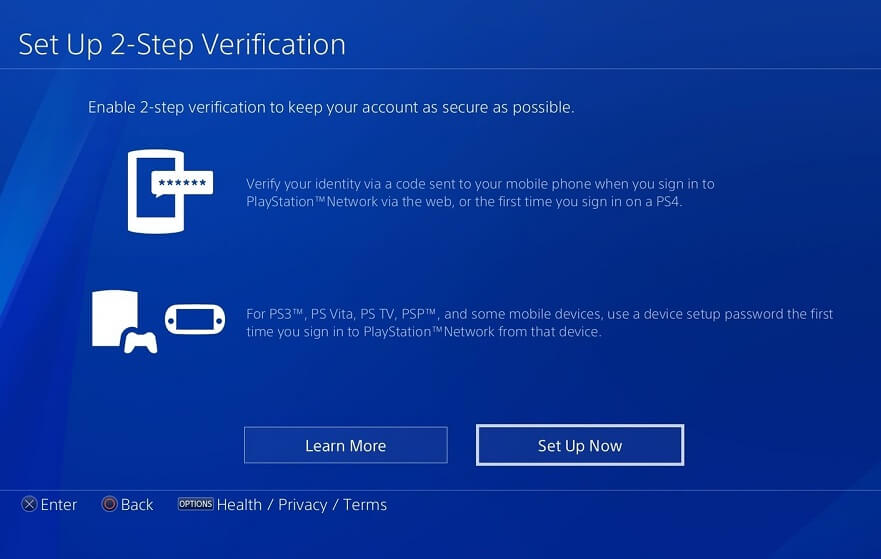 Re-enable Two-Step Verification on PS4