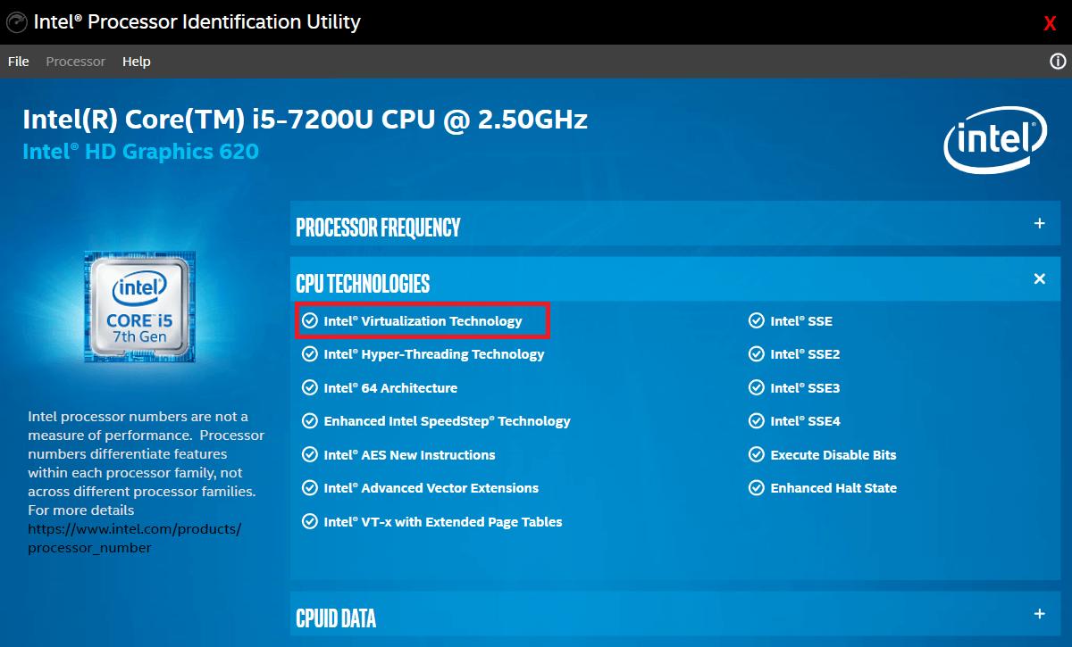 Scan the CPU technologies list for Intel® Virtualization Technology   Fix Bluestacks Engine Won't Start