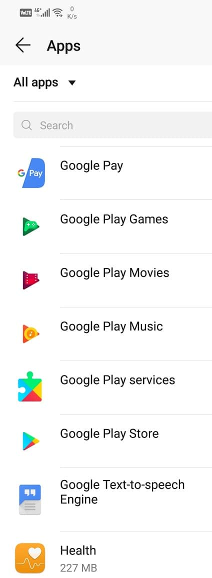 Scroll through the list of apps and open the Google Play Store