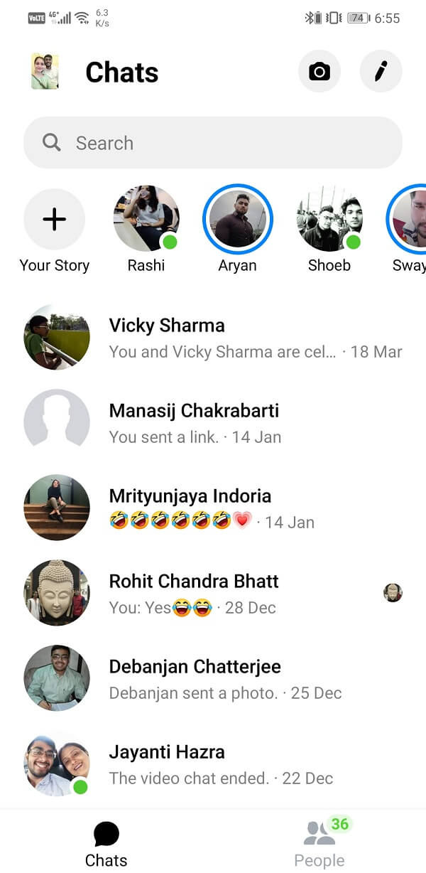 Search for the contact whose chat is missing