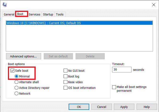 Under Boot options, tick/check the box next to Safe boot. Select Minimal and click on OK