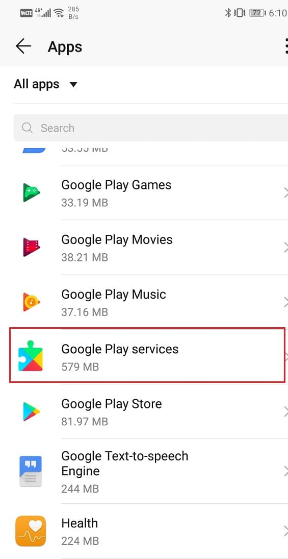 Select the Google Play Services from the list of apps | Fix Google Maps not showing directions in Android