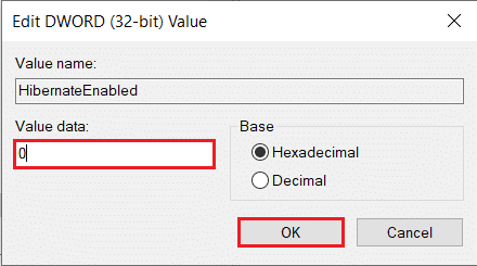 To disable Hibernation, type 0 in the text box under Value Data | Enable or Disable Hibernation on Windows 10
