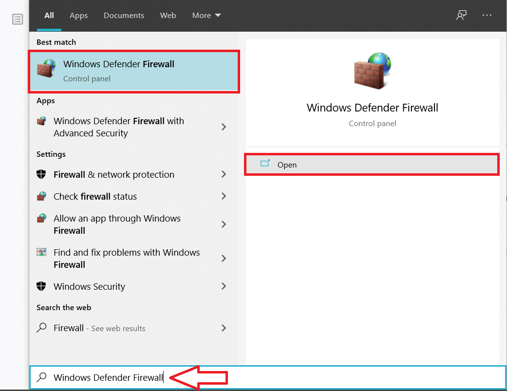 TypeWindows Defender Firewalland click onOpenwhen the search results arrive
