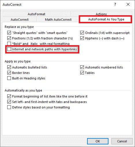 Uncheck/untick the box next to Internet and Network paths with hyperlinks and Click on OK