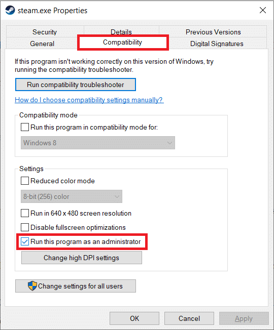 Under the Settings sub-section,checktick the box next to Run this program as an administrator