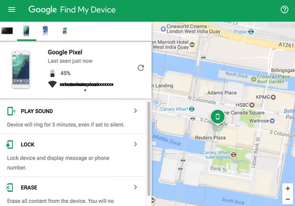 Using Google Find My Device service